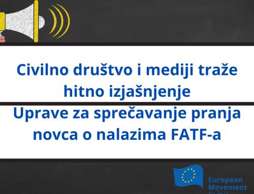 Civilno društvo i mediji traže hitno izjašnjenje Uprave za sprečavanje pranja novca o nalazima FATF-a